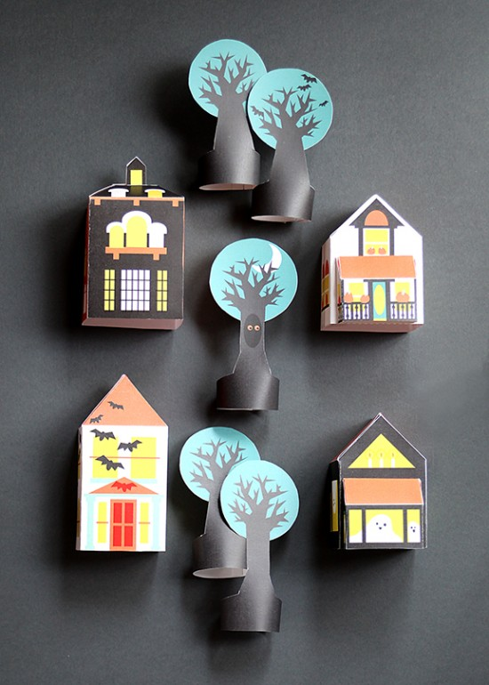 Printable Haunted Houses - Free Printable - DIY Paper Masks and Paper Dolls | Small for Big