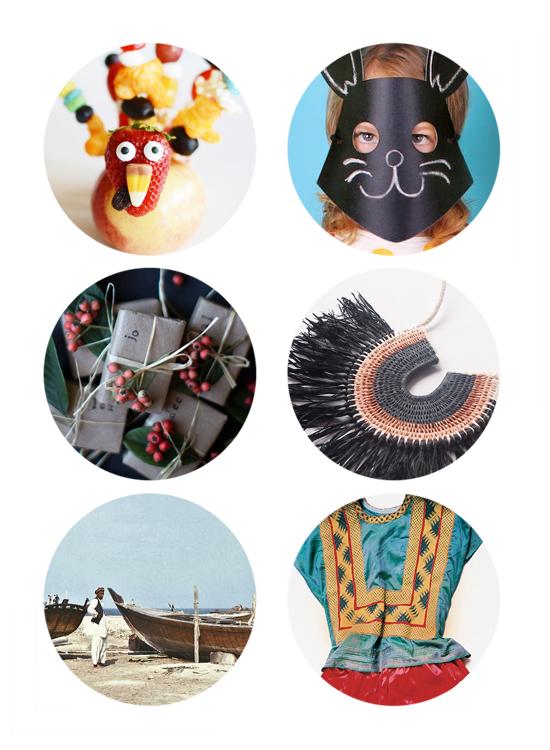 This week's top links include kids turkey craft, chalkboard masks, presents, fiber necklaces, vintage doha, and Frida Kahlo's wardrobe.