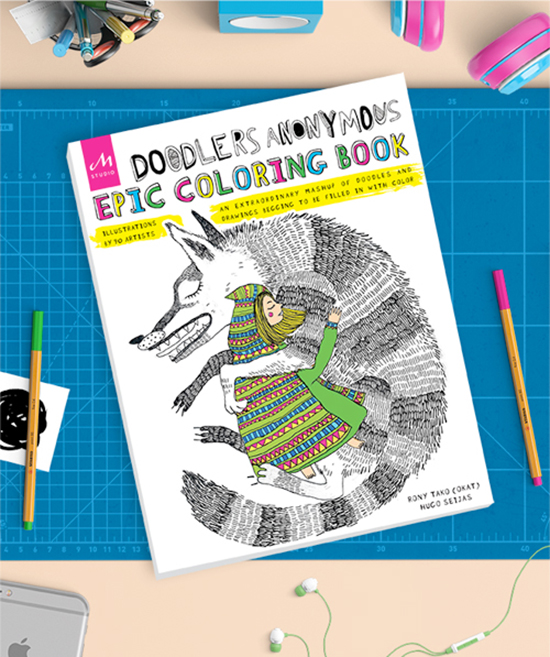 Doodlers Anonymous Epic Coloring Book for Adults - Illustrator Coloring Book for Grown Ups - Artists Coloring Book