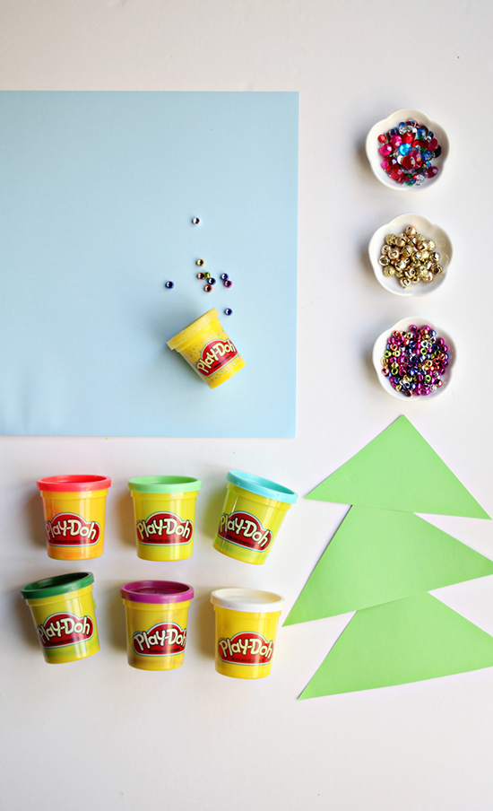 diy christmas activity craft for toddlers preschoolers and kids - make play dough christmas tree - Play Doh