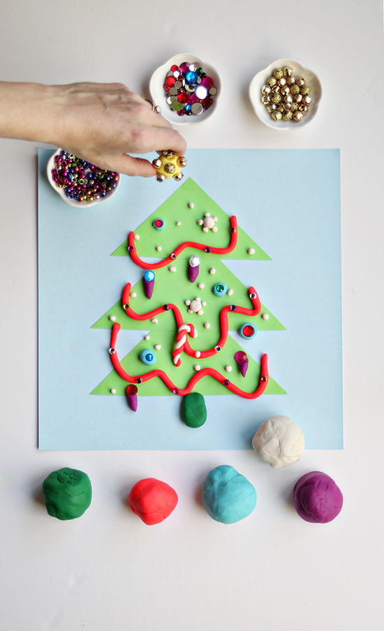 Make Play Doh Christmas Tree - Christmas Craft Activity for Kids - DIY Christmas Tree craft | Small for Big