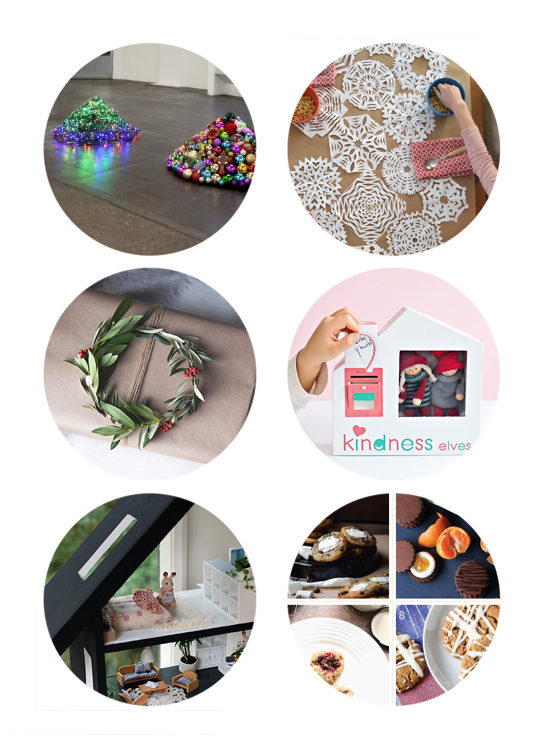 This week's top links include contemporary christmas trees, DIY snowflake table runner, Natural present wrapping, kindness elves, DIY upcycled dollhouse, and Holiday cookie roundup.