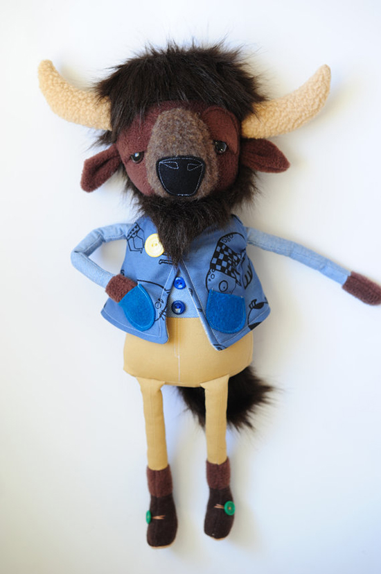 stuffed toy  animals - boolah baguette shop on etsy - modern handmade toys