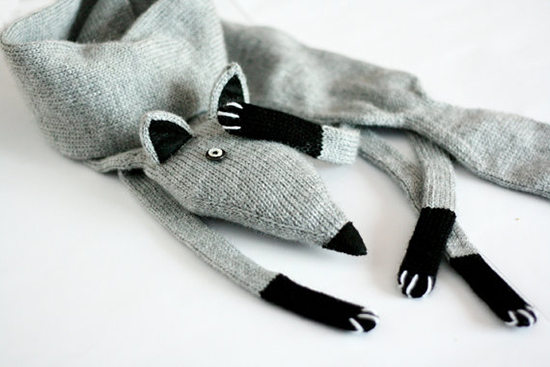 handknit handmade fox scarf on etsy
