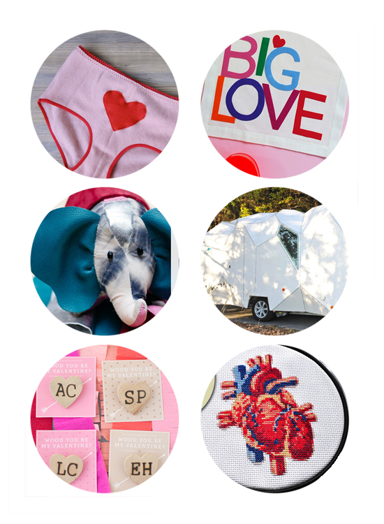 This week's top links include valentines, big love banner, diy kits, modern campers, anatomical heart embroidery kit, wooden heart pins.
