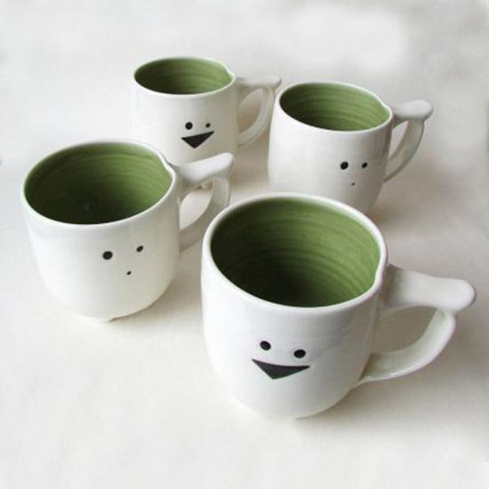 animal mugs handmade porcelain cups