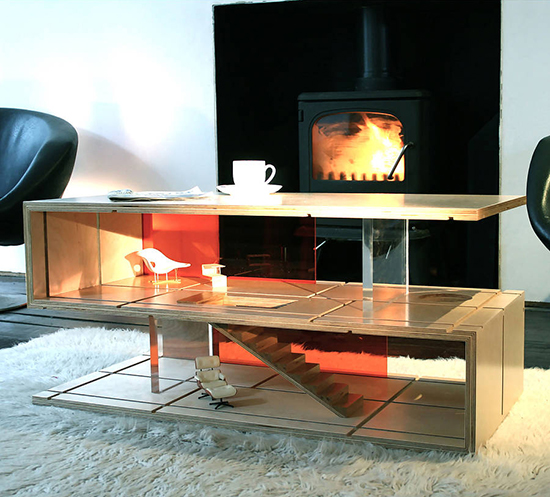 Modern coffee table and dollhouse