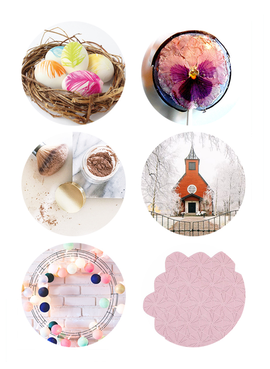 Top links online this week feather DIY easter eggs, DIY dry shampoo, living in a chapel, DIY modern ball wreath, modern kids rugs.