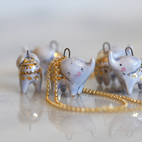 Small Wild ceramic and gold animal totems and necklaces