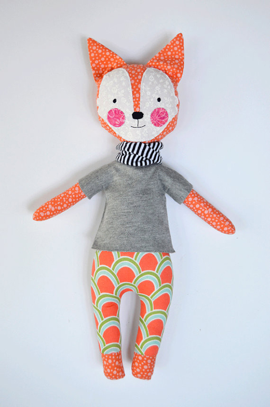 handmade stuffed toys from Rosey Rag Doll on Etsy - Lion, Tiger, Fox, Unicorn