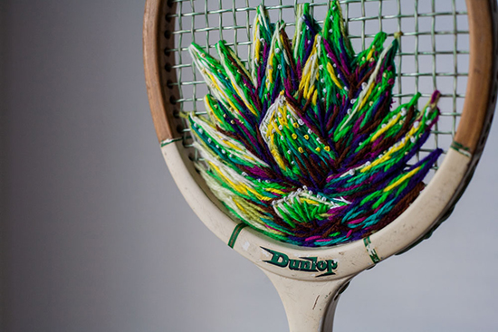 embroidered tennis rackets by Danielle Clough