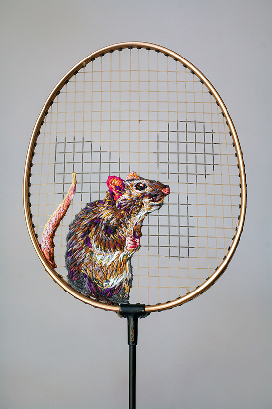 Embroidered tennis rackets by Danielle Clough.