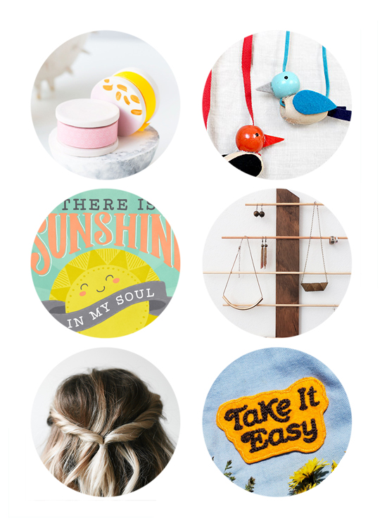 This week's top links include washi tape diy, wood bird necklace craft, sunshine art print, diy jewelry stand, retro patches.