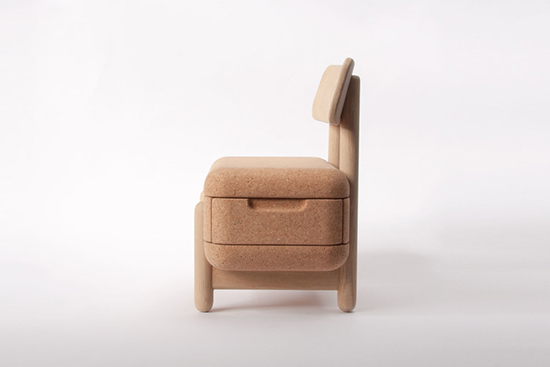 Oak Oak Chair with storage for kids
