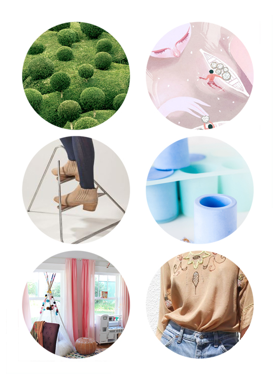 This week's top links include cool topiary, pink illustration, modern step stool, DIY tinted plaster how-to, kids decor, and vintage shopping.