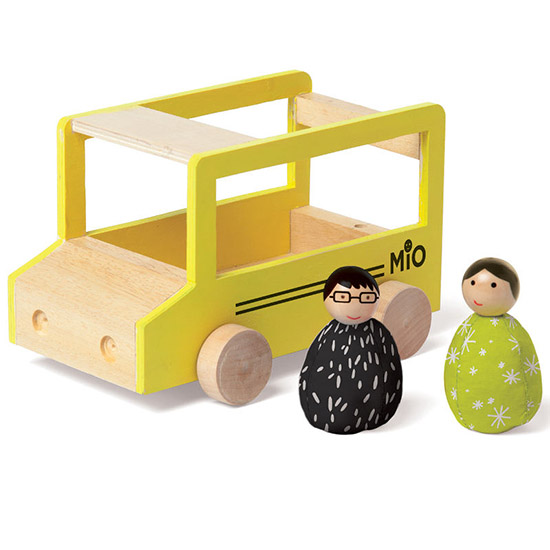 MIO wood dollhouse, beanbag toys, and cars
