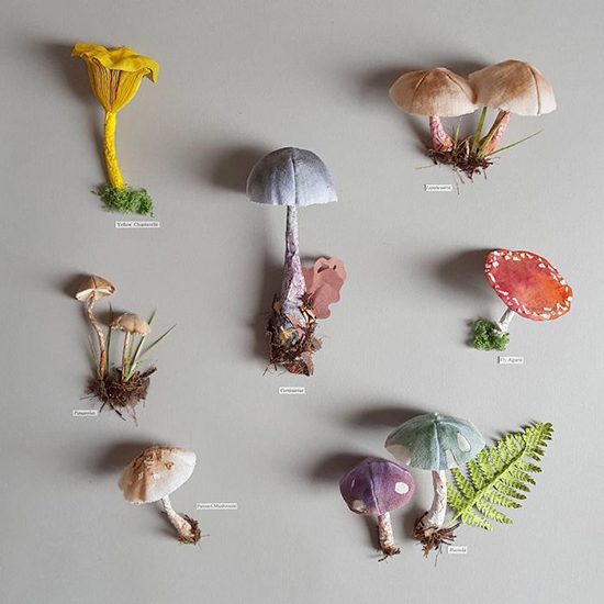 Kate Kato bug mushroom paper sculpture artwork
