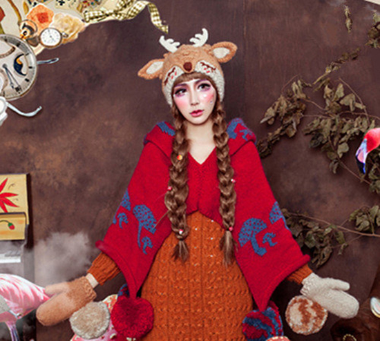 ctocheted costume - deer fox hat - kitty costume - knit acessories