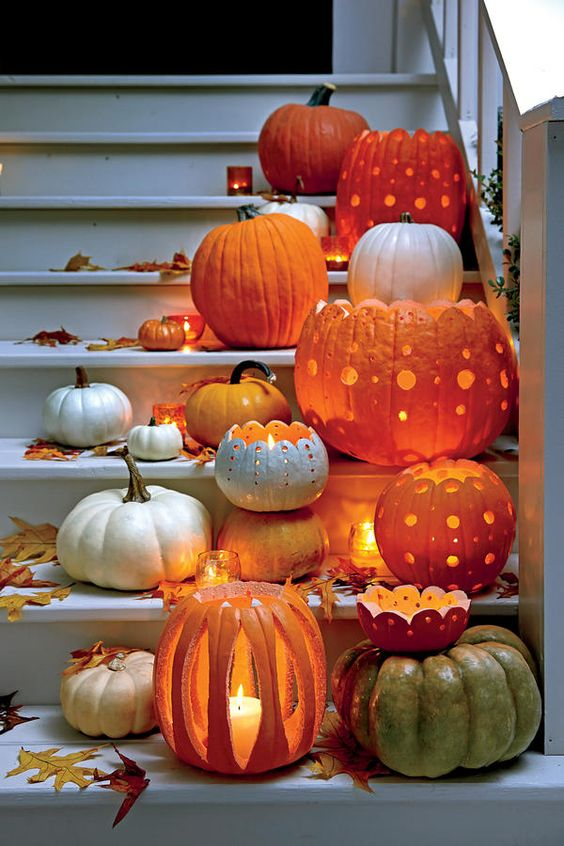 Jack-O-Lanterns - Pumpkin Carving Ideas - Halloween Patterned Pumpkins | Small for Big