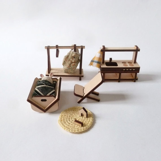 MilkyWood modern wood dollhouse and dollhouse furniture from Paris for kids