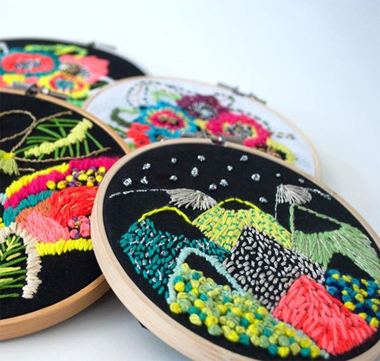 Katy Biele colorful modern embroidery art