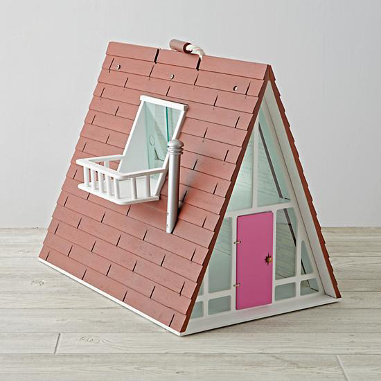 Land of Nod wooden modern a-frame dollhouse for kids