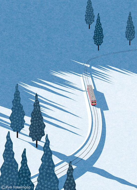 Ryo Takemasa - Retro Illustration Styles - Winter Snow Forest Art | Small for Big
