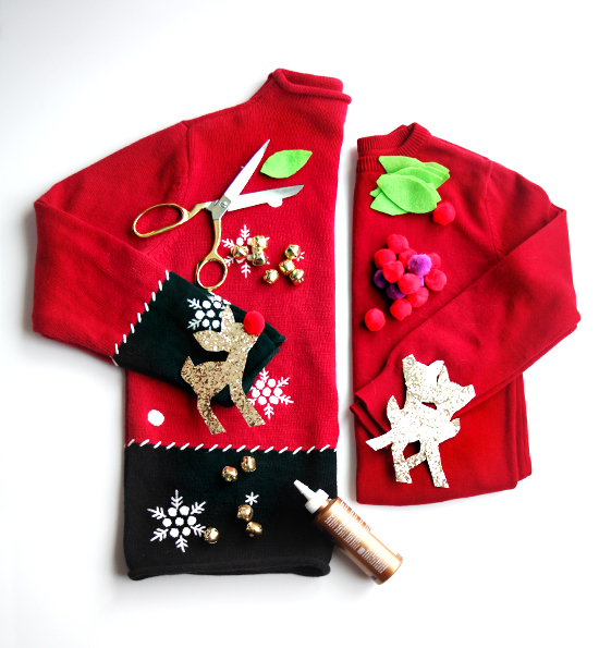 DIY how to make your own ugly christmas sweaters - mother-daughter sweaters - matching kid crafts