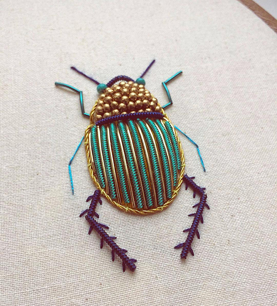 Embroidered Art Beaded Bugs Insect Artwork Small For Big
