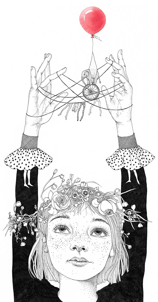 Sveta Dorosheva - girls in illustration - cat's cradle games | Small for Big