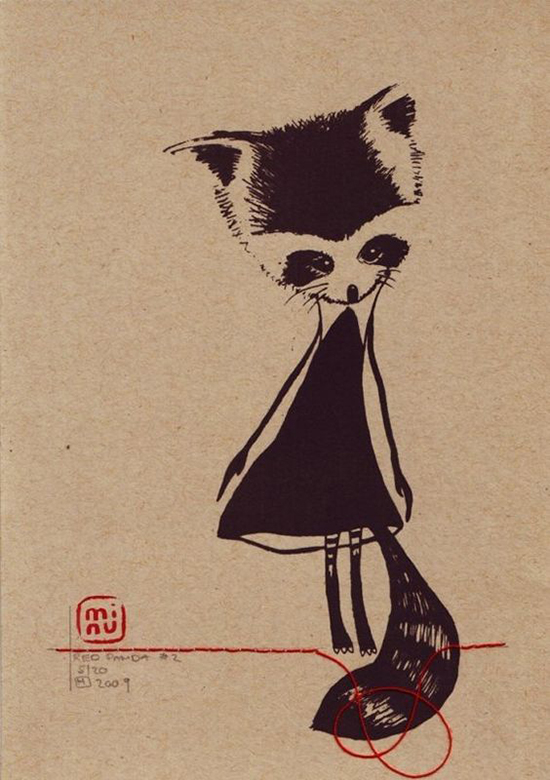 Minu Art Print - Japanese Kawaii Art - Sassy Raccoon Girl | Small for Big