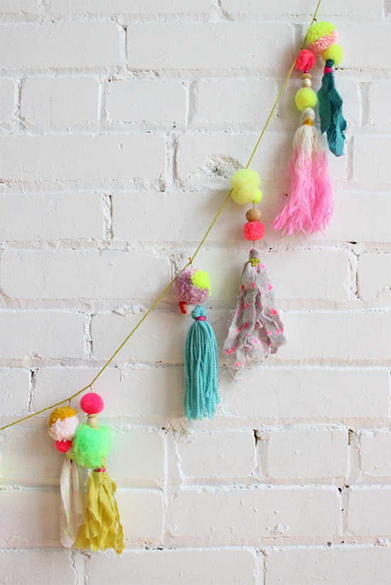 Pompom Garland - Mod Boho Decor - Nursery Decor | Small for Big