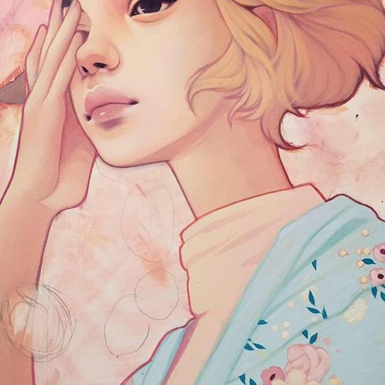 Kelsey Beckett Illustration - Spring Flowers girl painting